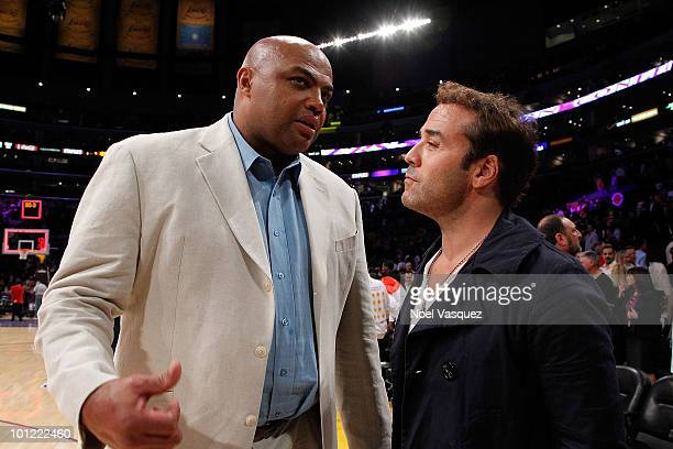 Jeremy Piven and Charles Barkley attend Game Five of the Western Conference Finals between the Phoenix Suns and the Los Angeles Lakers during the...