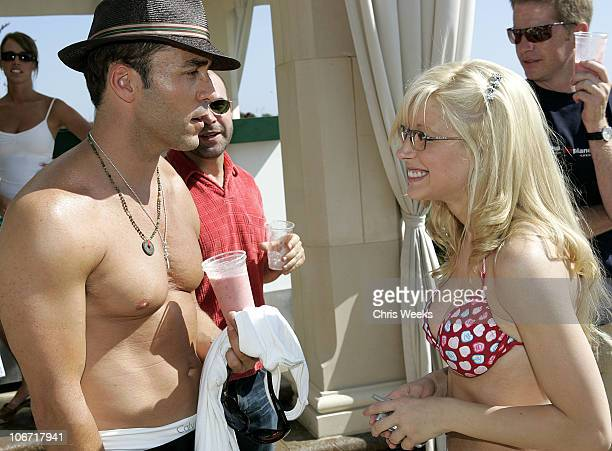 Jeremy Piven and Courtney Peldon during No Ten by Tanqueray hosts Angela Lindvall's Pool Party Benefitting The Collage Foundation at Private...