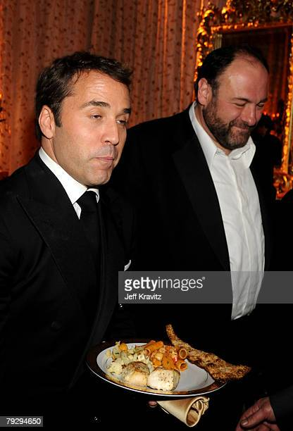 Jeremy Piven and James Gandolfini attend the HBO after party for the 14th Annual Screen Actor's Guild Awards at the Shrine Auditorium on January 27...