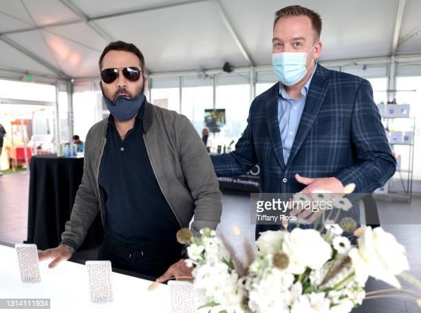 Jeremy Piven and Kailo Founder Stuart Fetzer attend the EON Mist Sanitizer Pre-Oscars Lounge presented by GBK Brand Bar at La Peer Hotel on April 23,...