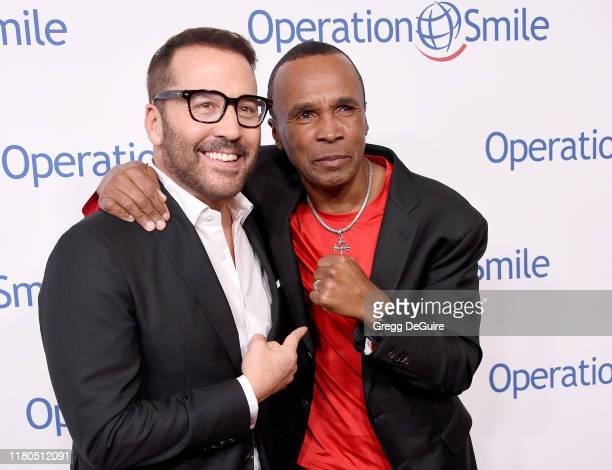 Jeremy Piven and Sugar Ray Leonard arrive at Operation Smile's Hollywood Fight Night at The Beverly Hilton Hotel on November 6, 2019 in Beverly...