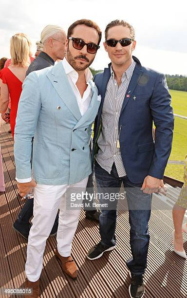 Jeremy Piven and Tom Hardy attend day two of the Audi Polo Challenge at Coworth Park Polo Club on June 1, 2014 in Ascot, England.
