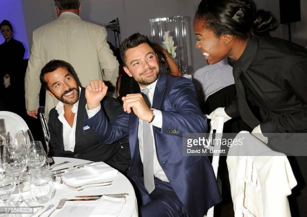 Jeremy Piven Dominic Cooper and guest attend day 2 of the Audi Polo Challenge at Coworth Park Polo Club on August 4 2013 in Ascot England