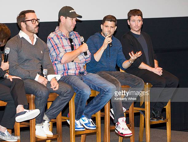Jeremy Piven Doug Ellin Jerry Ferrara and Kevin Connolly speak onstage at a QA with the cast of Entourage at ILM Premier Theatre on June 2 2015 in...