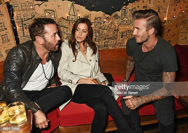 Jeremy Piven guest and David Beckham attend an after party celebrating the premiere of Belstaff Films' 'Outlaws' during London Fashion Week at La...