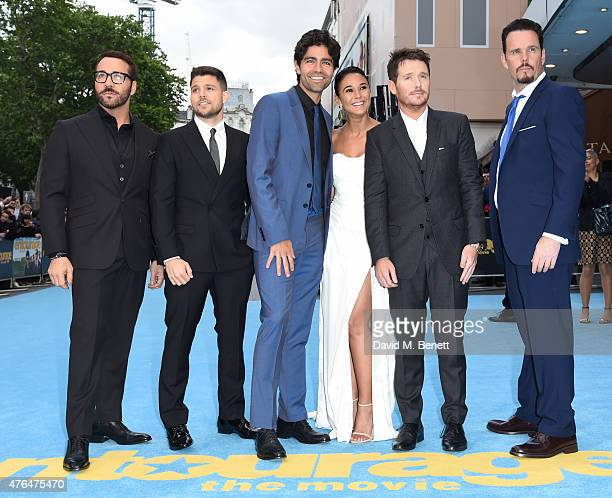 Jeremy Piven Jerry Ferrara Adrian Greneir Emmanuelle Chriqui Kevin Connolly and Kevin Dillon attend the European premiere of 'Entourage' at the Vue...