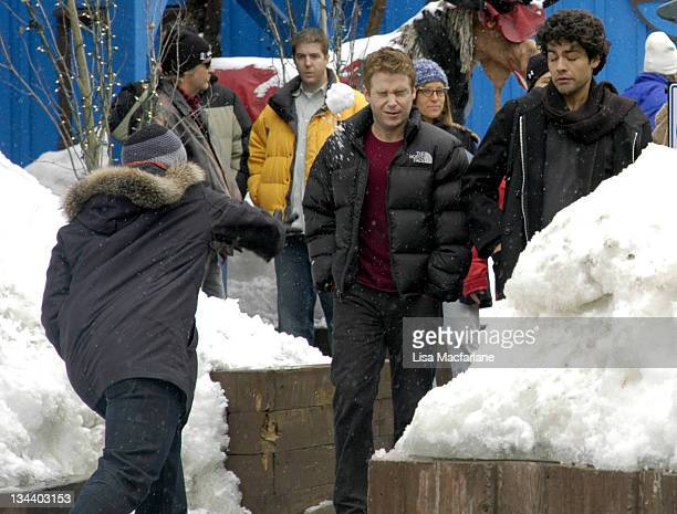 Jeremy Piven Kevin Connolly and Adrian Grenier during 2005 Sundance Film Festival Taping of Entourage January 27 2005 at Main Street in Park City...