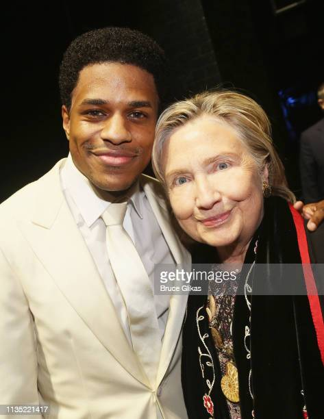 Jeremy Pope and Hillary Clinton pose backstage at the hit musical Ain't Too Proud To Beg on Broadway at The Imperial Theatre on April 5 2019 in New...