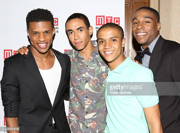 """Jeremy Pope, Kyle Beltran, Nicholas L. Ashe and Grantham Coleman attend the opening night party for """"Choir Boy"""" at Inside Park at St. Bart's on July..."""