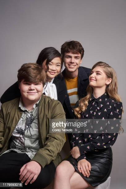 "Jeremy Ray Taylor, Miya Cech, Sam Ashe Arnold and Lyliana Wray of ""Are You Afraid Of The Dark"" pose for a portrait during 2019 New York Comic Con at..."