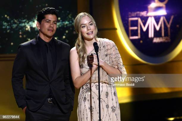 Jeremy Ray Valdez and Annika Noelle on stage during the 45th Annual Daytime Creative Arts Emmy Awards at Pasadena Civic Auditorium on April 27 2018...