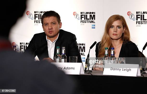 Jeremy Renner and Amy Adams attend the 'Arrival' press conference during the 60th BFI London Film Festival at Corinthia Hotel London on October 11...