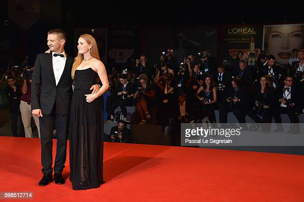Jeremy Renner and Amy Adams attend the premiere of 'Arrival' during the 73rd Venice Film Festival at Sala Grande on September 1 2016 in Venice Italy