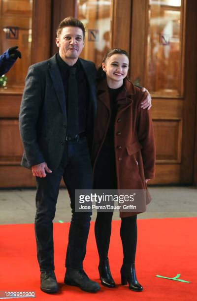 Jeremy Renner and Ava Russo are seen at the film set of the 'Hawkeye' TV Series on December 04, 2020 in New York City.