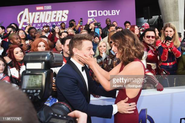 Jeremy Renner and Cobie Smulders attend the Los Angeles World Premiere of Marvel Studios' Avengers Endgame at the Los Angeles Convention Center on...