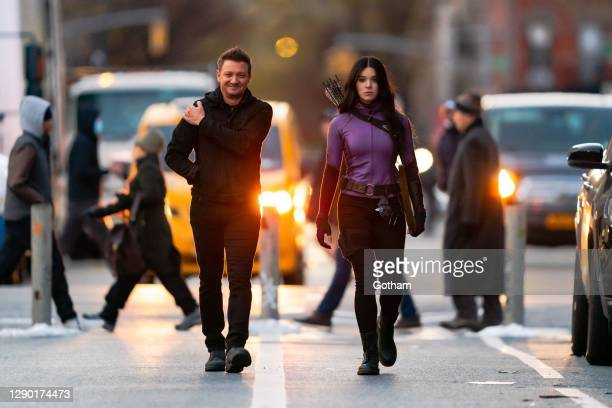 Jeremy Renner and Hailee Steinfeld are seen filming a scene for 'Hawkeye' in the East Village on December 08, 2020 in New York City.