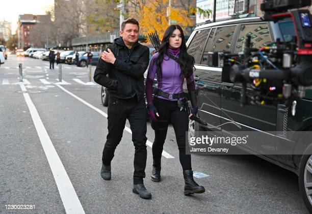 Jeremy Renner and Hailee Steinfeld seen on the set of 'Hawkeye' on the Lower East Side on December 8, 2020 in New York City.