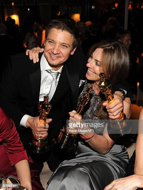 Jeremy Renner and Kathryn Bigelow attends the 2010 Vanity Fair Oscar Party hosted by Graydon Carter at the Sunset Tower Hotel on March 7, 2010 in...