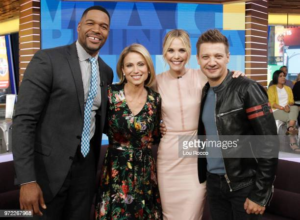 AMERICA Jeremy Renner and Leslie Bibb are guests on Good Morning America on Tuesday June 12 2018 airing on the Walt Disney Television via Getty...