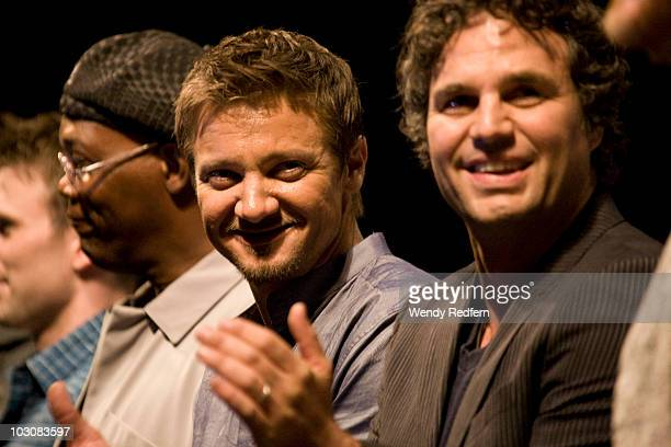 Jeremy Renner and Mark Ruffalo speak at The Avengers panel at ComicCon on July 24 2010 in San Diego California