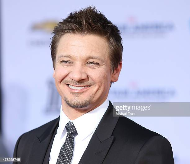 Jeremy Renner arrives at the Los Angeles premiere of 'Captain America The Winter Soldier' held at the El Capitan Theatre on March 13 2014 in...