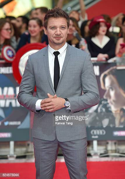 Jeremy Renner arrives for the European film premiere of 'Captain America Civil War' at Vue Westfield on April 26 2016 in London England