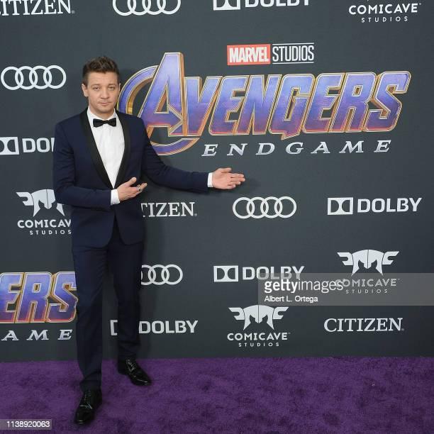Jeremy Renner arrives for the World Premiere Of Walt Disney Studios Motion Pictures Avengers Endgame held at Los Angeles Convention Center on April...