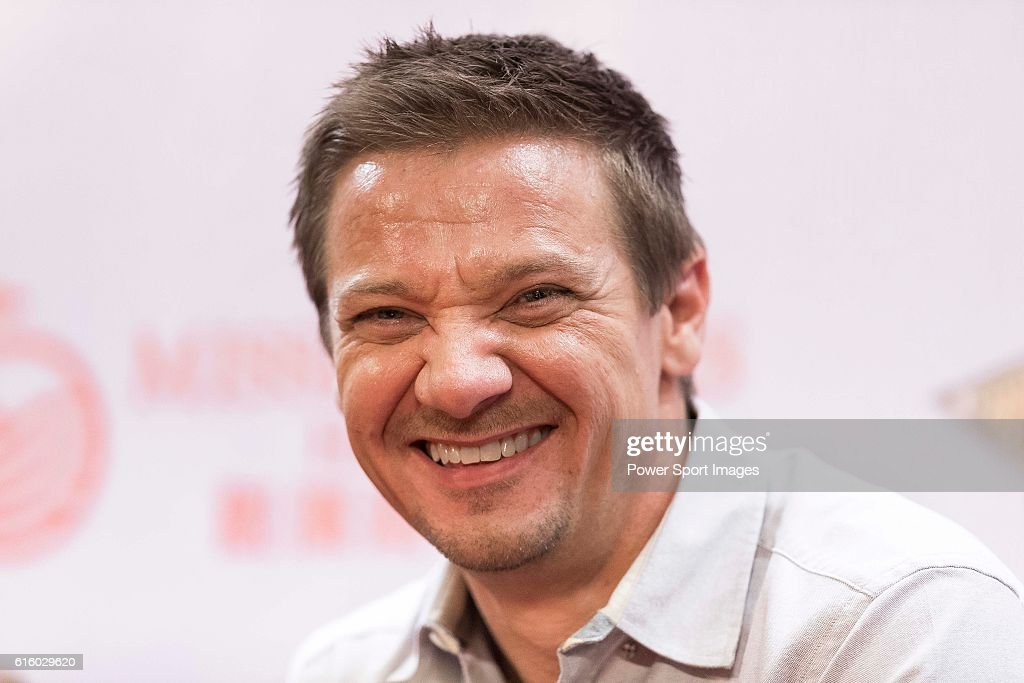 Jeremy Renner attends a press conference during the World Celebrity Pro-Am 2016 Mission Hills China Golf Tournament on October 21, 2016 in Haikou, China.