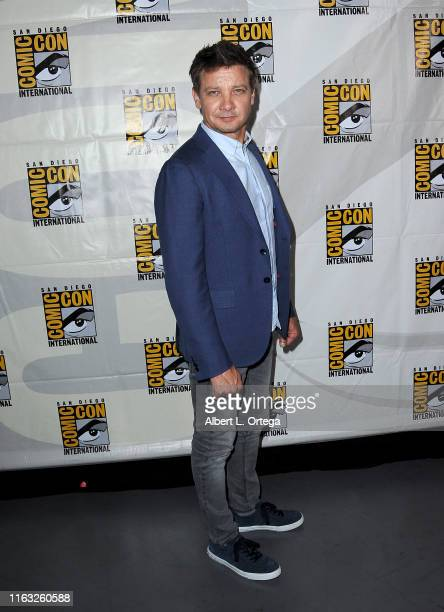 Jeremy Renner attends the Marvel Studios Panel during 2019 ComicCon International at San Diego Convention Center on July 20 2019 in San Diego...