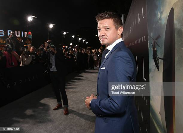 Jeremy Renner attends the Premiere Of Paramount Pictures' 'Arrival' at Regency Village Theatre on November 6 2016 in Westwood California