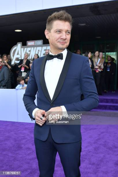 Jeremy Renner attends the world premiere of Walt Disney Studios Motion Pictures Avengers Endgame at the Los Angeles Convention Center on April 22...