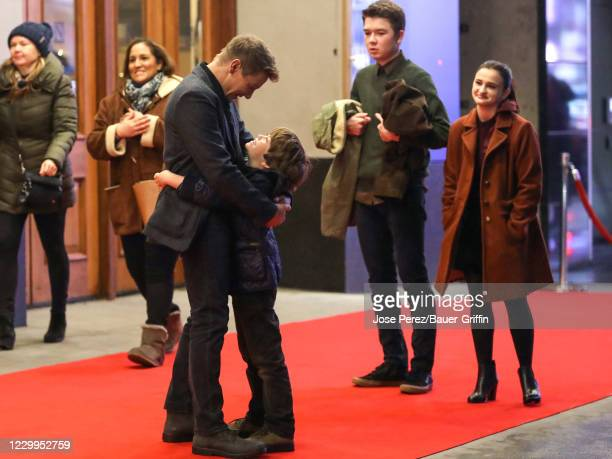 Jeremy Renner, Ava Russo, Ben Sakamoto and Cade Woodward are seen at the film set of the 'Hawkeye' TV Series on December 04, 2020 in New York City.