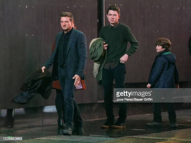 Jeremy Renner, Ben Sakamoto and Cade Woodward are seen at the film set of the 'Hawkeye' TV Series on December 04, 2020 in New York City.