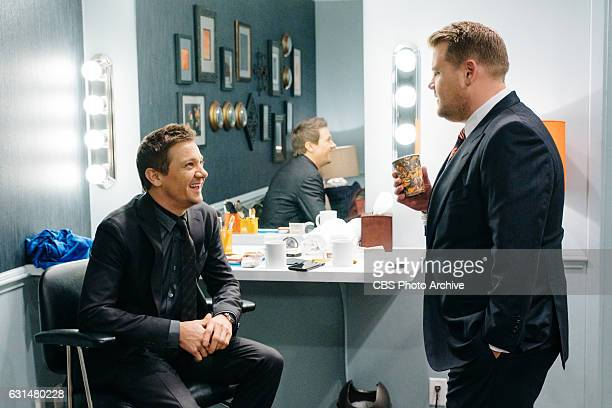 Jeremy Renner chats in the green room with James Corden during 'The Late Late Show with James Corden' Tuesday January 10 2017 On The CBS Television...