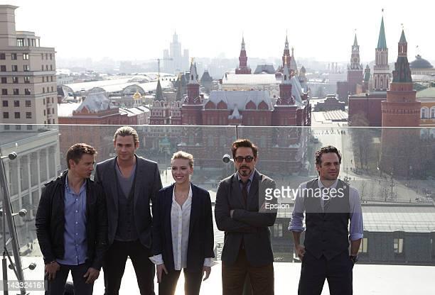 Jeremy Renner Chris Hemsworth Scarlett Johansson Renner Robert Downey Jr and Mark Ruffalo pose for photo on the roof of Ritz Carlton hotel before...