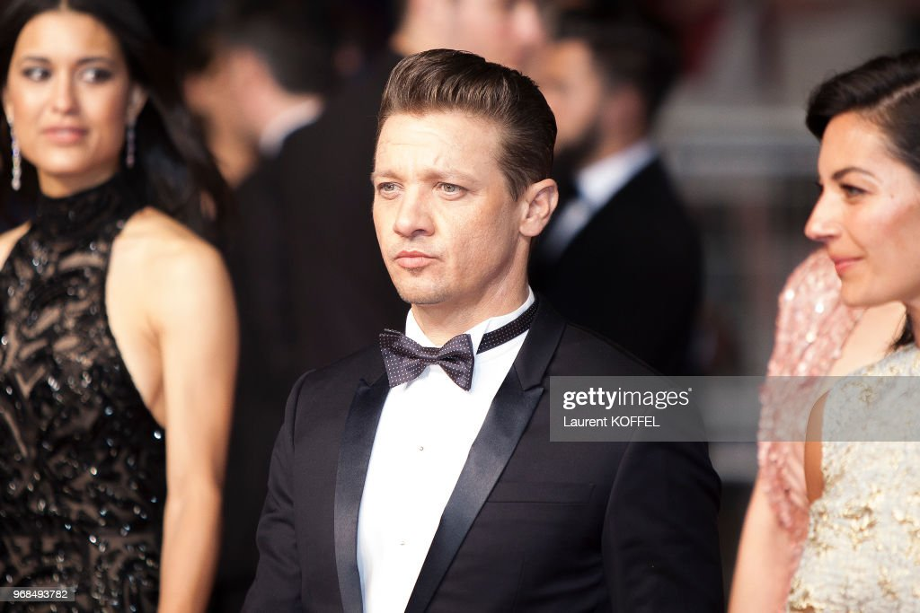Jeremy Renner, Elizabeth Olsen and Julia Jones attend the 'The Square' screening during the 70th annual Cannes Film Festival at Palais des Festivals on May 20, 2017 in Cannes, France.
