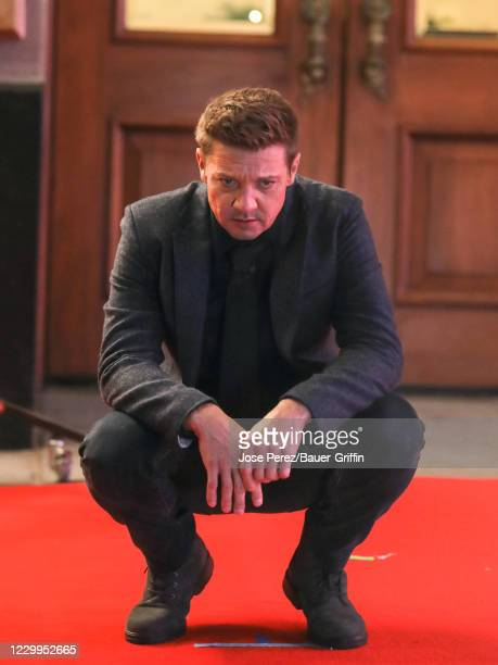 Jeremy Renner is seen at the film set of the 'Hawkeye' TV Series on December 04, 2020 in New York City.