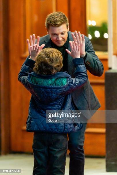 Jeremy Renner is seen filming a scene for 'Hawkeye' in Midtown on December 04, 2020 in New York City.