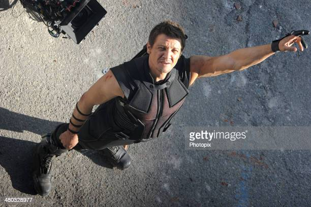 Jeremy Renner is seen filming on location for Avengers Age of Ultron on March 24 2014 in Aosta Italy