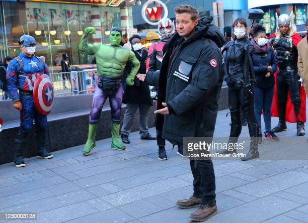 """Jeremy Renner is seen on set of """"Hawkeye"""" on December 07, 2020 in New York City."""