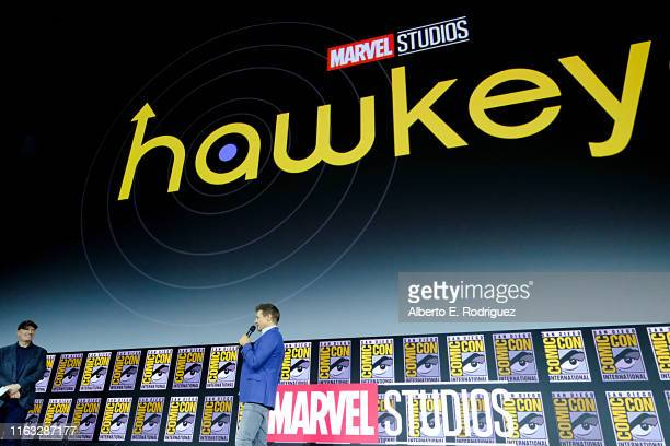 Jeremy Renner of Marvel Studios' 'Hawkeye' at the San Diego ComicCon International 2019 Marvel Studios Panel in Hall H on July 20 2019 in San Diego...
