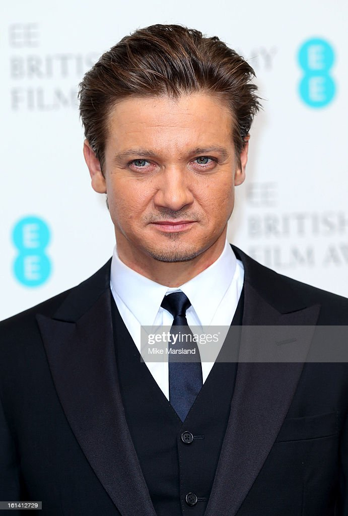 Jeremy Renner poses in the Press Room at the EE British Academy Film Awards at The Royal Opera House on February 10, 2013 in London, England.
