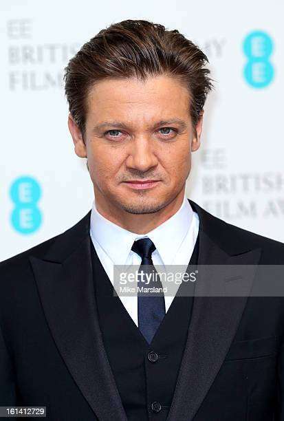 Jeremy Renner poses in the Press Room at the EE British Academy Film Awards at The Royal Opera House on February 10 2013 in London England