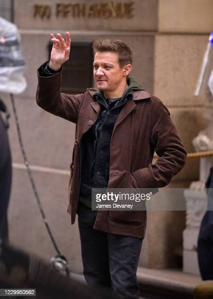 Jeremy Renner seen on the set of 'Hawkeye' in Midtown Manhattan on December 4, 2020 in New York City.