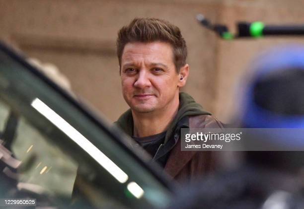 Jeremy Renner seen on the set of 'Hawkeye' in Times Square on December 4, 2020 in New York City.