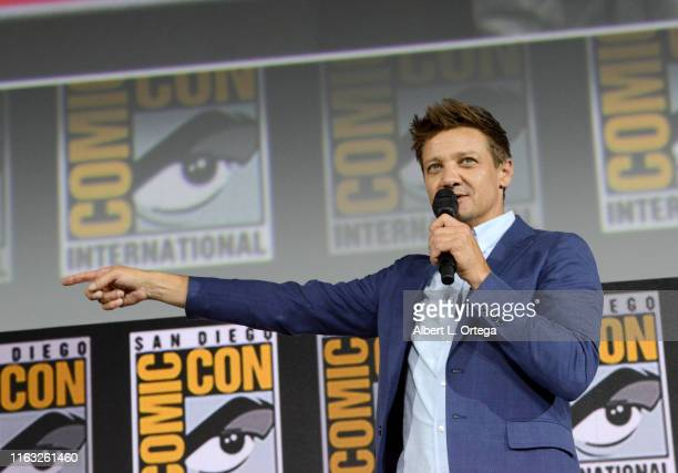Jeremy Renner speaks at the Marvel Studios Panel during 2019 ComicCon International at San Diego Convention Center on July 20 2019 in San Diego...