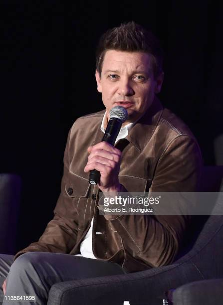 Jeremy Renner speaks onstage during Marvel Studios' Avengers Endgame Global Junket Press Conference at the InterContinental Los Angeles Downtown on...