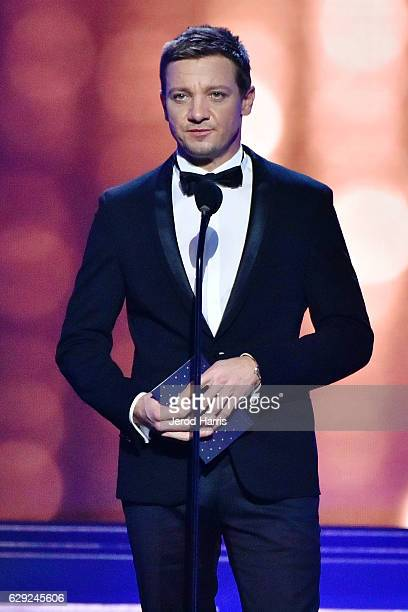 Jeremy Renner speaks onstage during the 22nd Annual Critics' Choice Awards at Barker Hangar on December 11 2016 in Santa Monica California