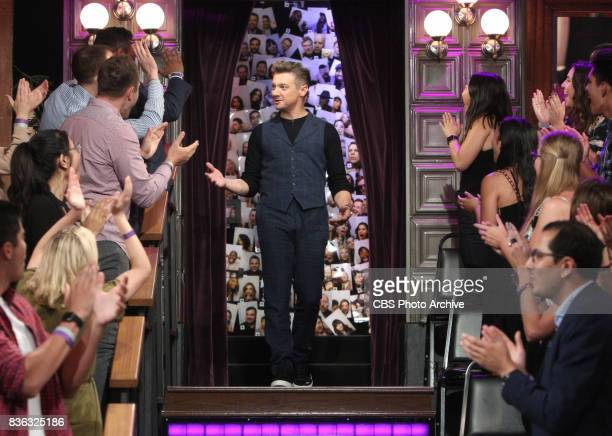 Jeremy Renner visits with James Corden during 'The Late Late Show with James Corden' Thursday August 10 2017 On The CBS Television Network