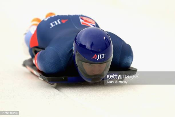 Jeremy Rice of Great Britain takes a training run in the Men's Skeleton during the BMW IBSF Bobsleigh + Skeleton World Cup at Utah Olympic Park...